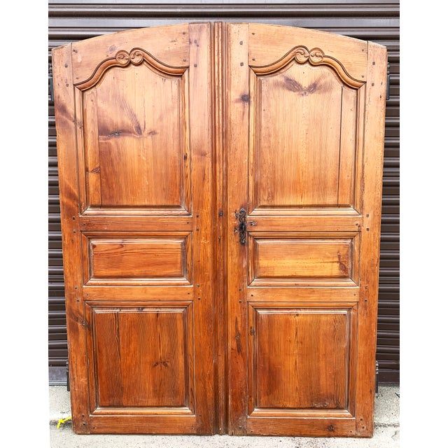 Rustic European 18th C Antique French Walnut Armoire Doors - a Pair For Sale - Image 3 of 13