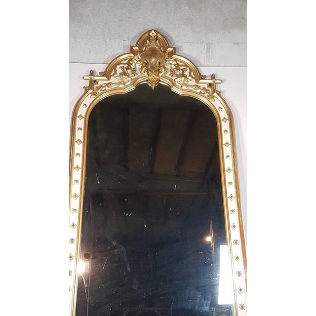 Late 19th Century 19th Century Italian Baroque Style Carved Lacquered Golden Wood Floor Mirror For Sale - Image 5 of 12