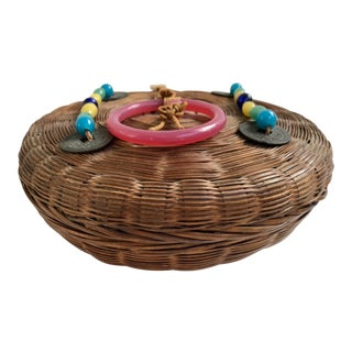 Peking Glass Decorated Basket For Sale