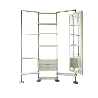 Rotating Shelving Unit With Full Body Mirror in Cream Shagreen by Kifu Paris For Sale