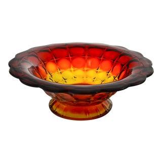 Amberina Petal Rim Centerpiece Bowl For Sale