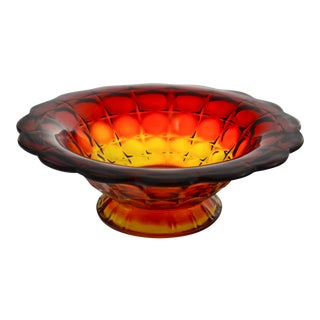 Red to Gold Gradient Petal Rim Bowl For Sale
