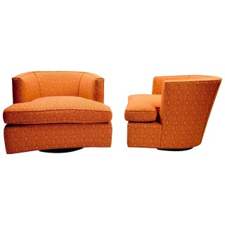 Pair of Swivel Lounge Chairs Designed by Harvey Probber For Sale