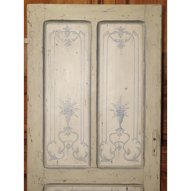 Blue and White Painted Antique Door From Lombardy, Italy Circa 1850 For Sale - Image 9 of 13