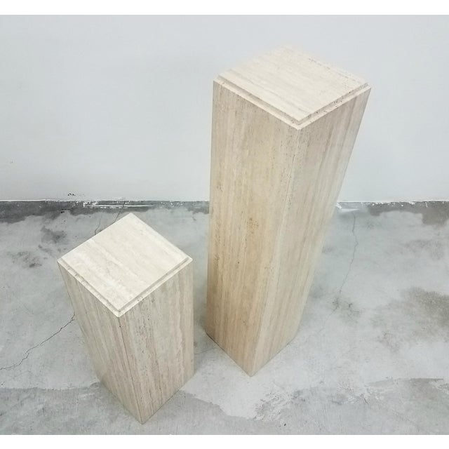 Pair of Square Vintage Italian Travertine Tiered Display Pedestals For Sale - Image 4 of 6