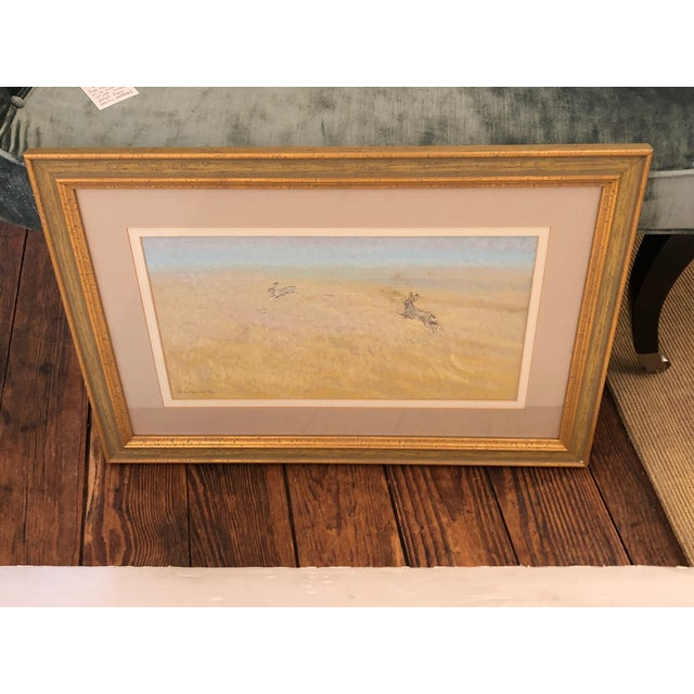Traditional Romantic Pretty Pastel of Bunny Rabbits in a Pasture For Sale - Image 3 of 9
