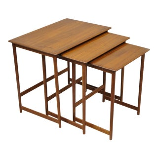 Danish Modern Three Rasmus Solberg Westnofa Teak Nesting Side Tables - Set of 3 For Sale