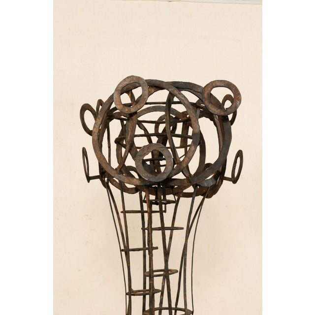 Early 20th Century Tall French Sculptural Iron Abstract Art Piece, Circa 1930s-1940s For Sale - Image 5 of 12