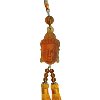 Chinese Liuli Crystal Glass Buddha Head Pendant Decor Tassel For Sale