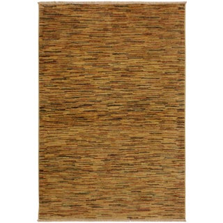 Gabbeh Janee Tan/Rust Wool Area Rug -3'10 X 5'9 For Sale