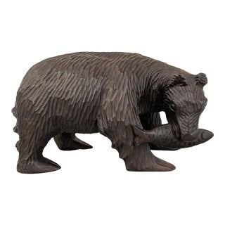 Wooden, Hand- Carved Bear Catching a Fish, Vintage For Sale