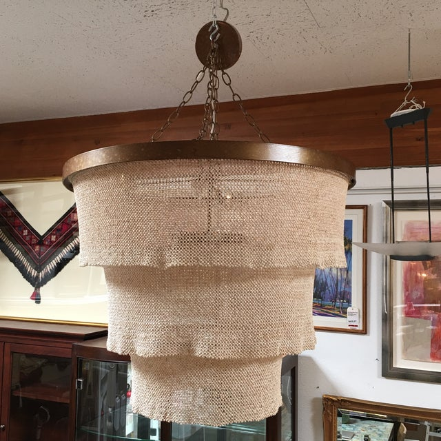 "Boho Chic Made Goods ""Patricia"" Cocoa Bead Chandelier For Sale - Image 3 of 10"