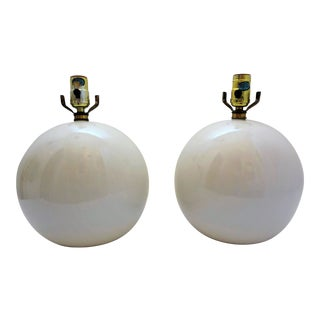 Vintage White Round Ceramic Ball Lamps - a Pair