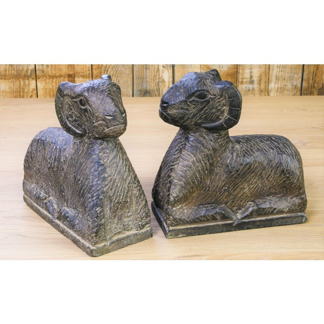 Pair Large Italian Hand-Carved Marble Rams as Bookends For Sale - Image 4 of 4