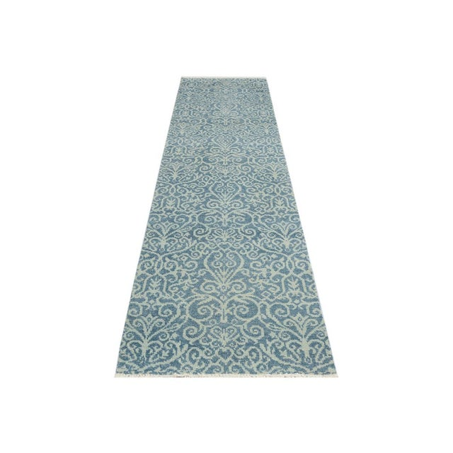 "Kafkaz Peshawar Cyrena Lt. Blue/Lt. Green Wool Runner - 2'5"" X 9'9"" For Sale - Image 5 of 8"
