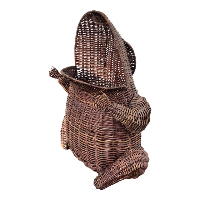 1970s Boho Chic Wicker Wide Mouth Frog Basket For Sale