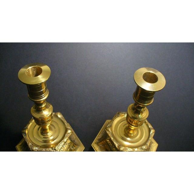 Gustavian (Swedish) Ystad Metall Swedish Brass Candleholders - A Pair For Sale - Image 3 of 7
