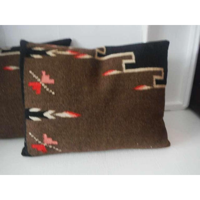 Primitive Pair of Early Mexican Indian Weaving Pillows For Sale - Image 3 of 5