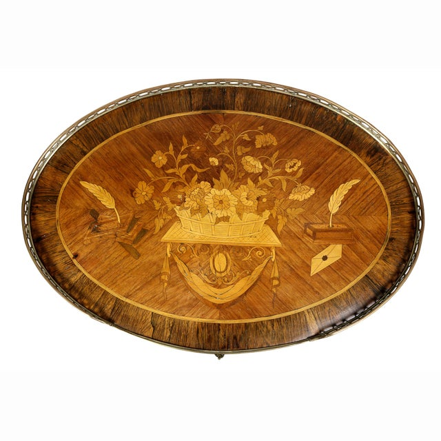 Louis XVI Louis XVI Style Marquetry Table A' Ecrire For Sale - Image 3 of 13