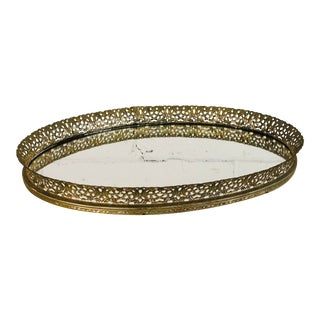 Vintage 1960s Oval Mirror Tray For Sale