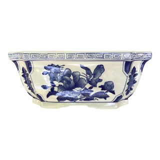 Vintage Chinoiserie Jardiniere Blue and White Planter For Sale