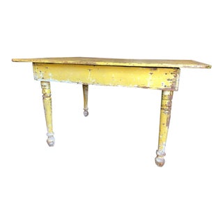 1940s Rustic Yellow Farmhouse Table For Sale