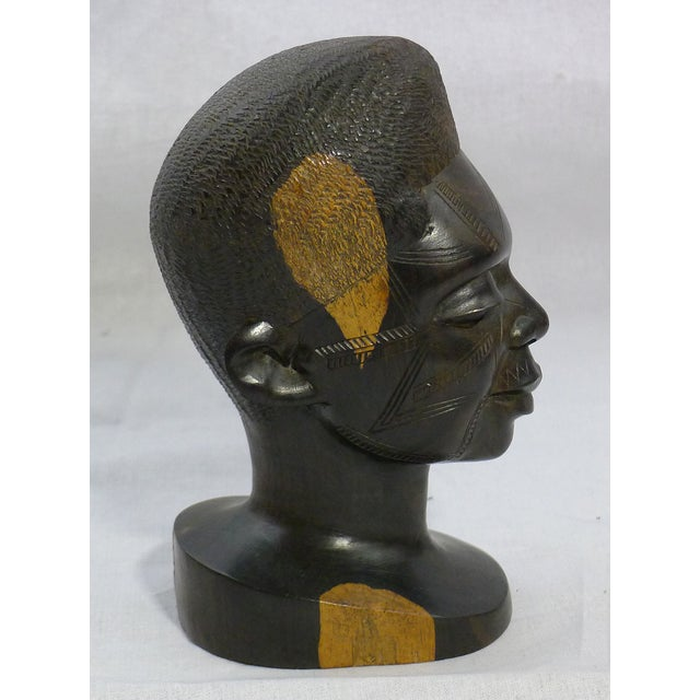Vintage Hand-Carved African Ebony Head - Image 4 of 6