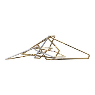 Modern Abstract Stainless Steel Gold Geometric Light Fixture For Sale
