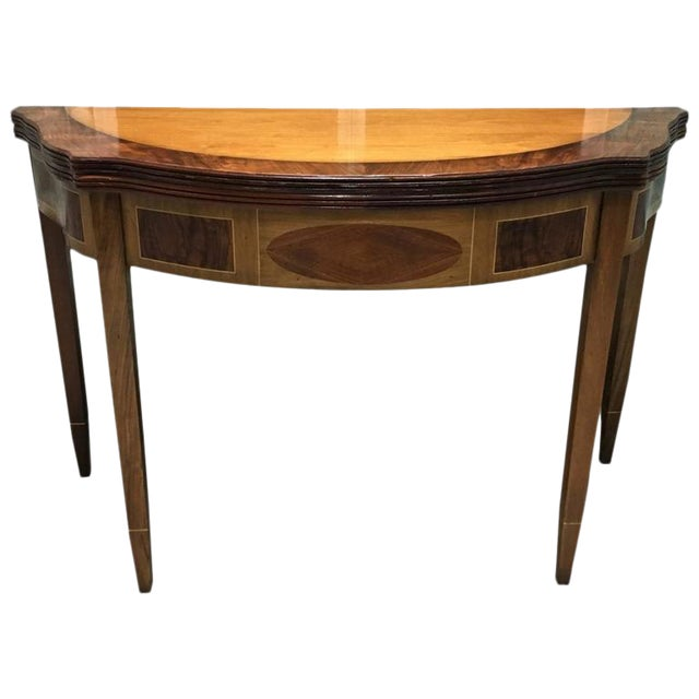 Demilune Inlay Mahogany Folding Checker Game Table For Sale