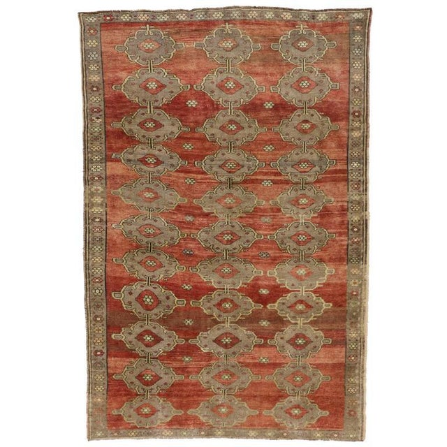 Modern Traditional Vintage Turkish Oushak Rug With Jacobean Style, 07'06 X 11'04 For Sale - Image 10 of 10
