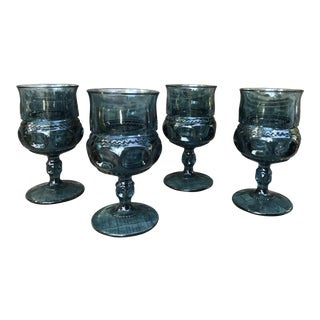 1960s Mid-Century Modern Indiana Blue Glass Peacock Wine Goblets - Set of 4
