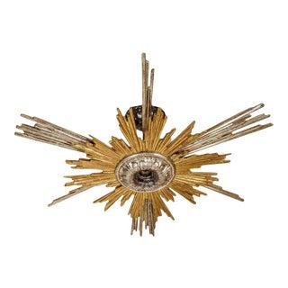 Vintage Starburst Chandelier in Goldleaf and Silverleaf For Sale