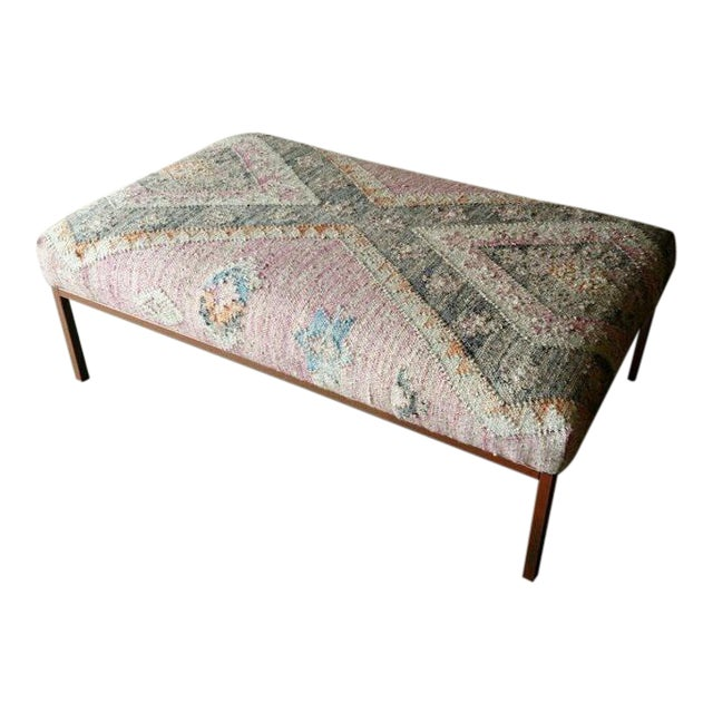 Gambrell Renard Kilim Rug Ottoman For Sale - Image 4 of 6