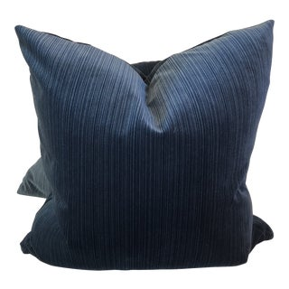 "Dark Teal Strie Velvet 22"" Pillows-A Pair"