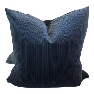 Dark Teal Strie Velvet Pillows - A Pair For Sale