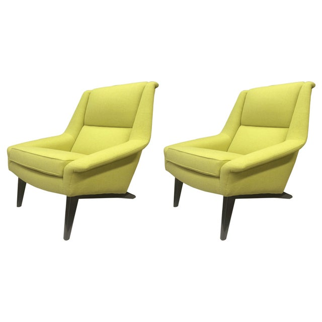 Mid-Century Modern Folke Ohlsson Large and Extremely Comfortable Pair of Lounge Chairs For Sale - Image 3 of 3