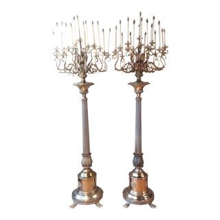 Antique Bronze Palace Chandelier Floor Lamps - A Pair