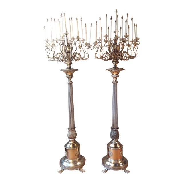 Antique Bronze Palace Chandelier Floor Lamps - A Pair - Image 1 of 10