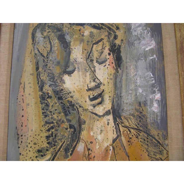Etienne Ret Cubist Portrait Oil Painting - Image 3 of 7