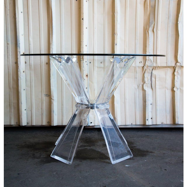 Mid-Century Modern Mid-Century Modern Lucite and Glass Table For Sale - Image 3 of 7