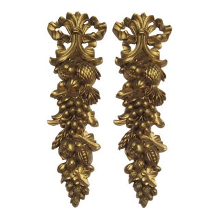 1966 Syroco Wood Gilt Wall Swags - a Pair For Sale