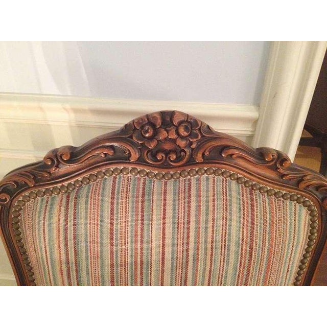 Wood Pair of French Walnut Upholstered Armchairs For Sale - Image 7 of 11