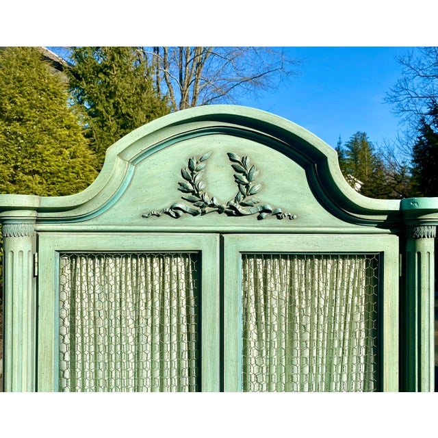 Light Green Lewis Mittman Blue Painted Louis XVI Style Armoire For Sale - Image 8 of 13