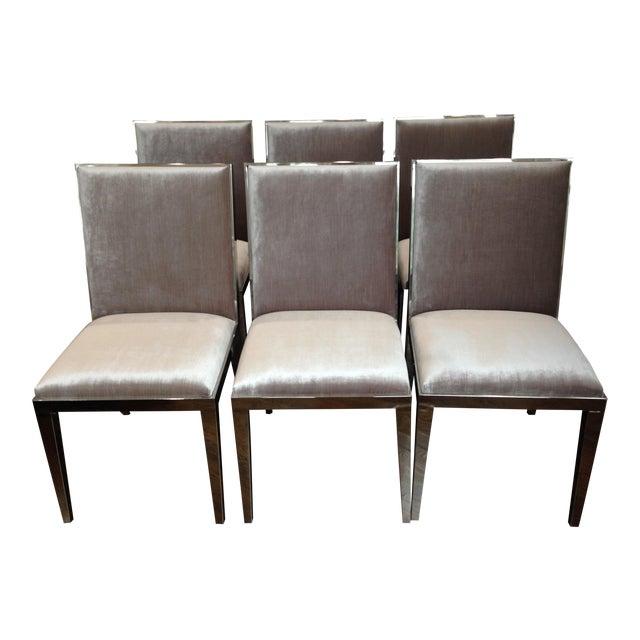 Modern Velvet Dining Chairs - Set of 6 For Sale
