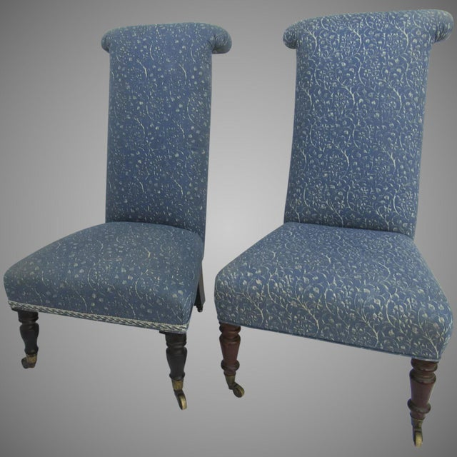 Blue Prie Dieu Style Chairs- a Pair For Sale - Image 8 of 9