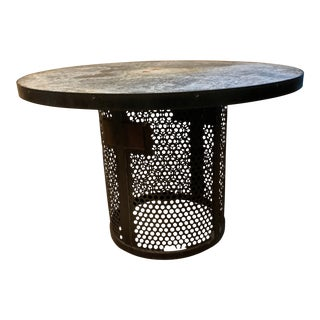 One Kings Lane Zinc Top and Metal Round Table For Sale