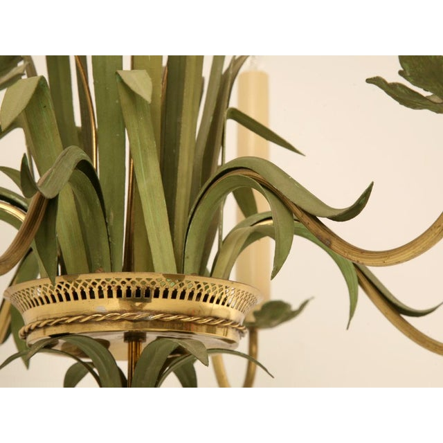 Brass Vintage Continental 6-Light Metal Cattail Chandelier For Sale - Image 7 of 11