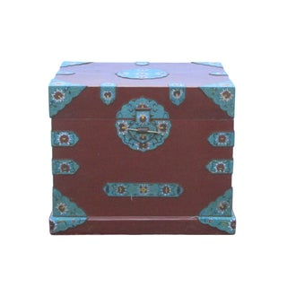 Vintage Blue Cloisonné Hardware Accent Red Trunk