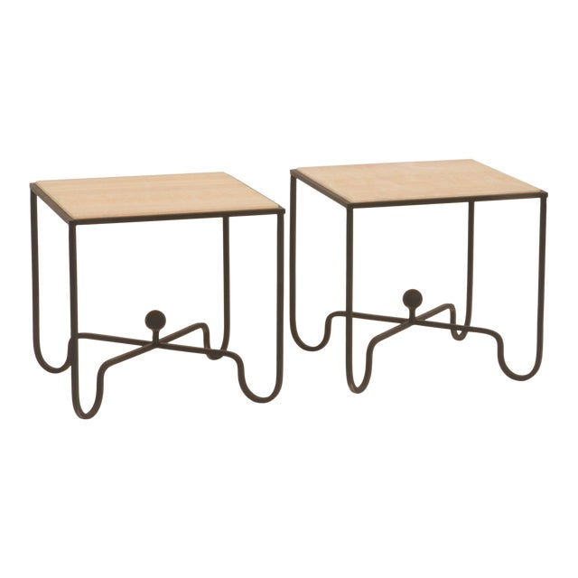 "Contemporary ""Entretoise"" Design Frères Wrought Iron and Onyx Side Tables - a Pair For Sale"