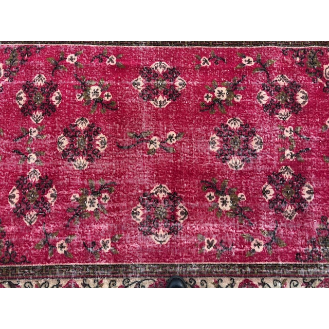 Raspberry Red 1960s Vintage Turkish Oushak Hand-Knotted Rug - 5′2″ × 8′2″ For Sale - Image 8 of 11